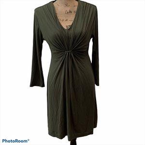 Soma Twist Front Dark Olive Green Dress NWT